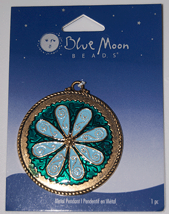 Blue Moon Beads, Pendant, Metal Blue Enameled Flower, Round 46mm