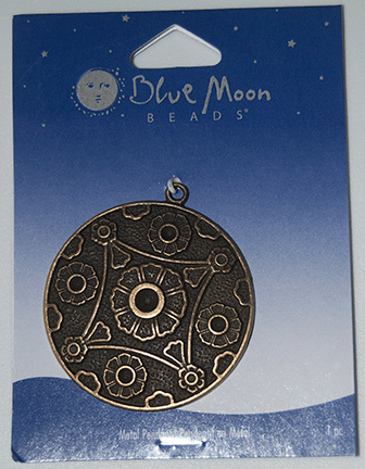 Blue Moon Beads, Pendant, Metal DNT Flower Antique Bronze, Round