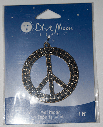 Blue Moon Beads, Pendant, Metal Peace Sign, Black Onyx/Bronze 44