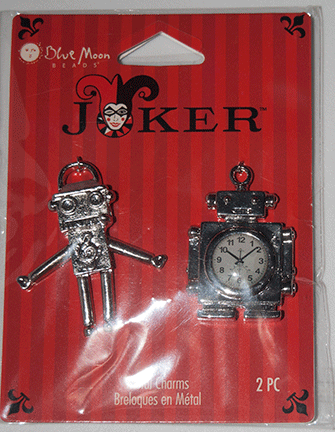 Blue Moon Beads, Joker, Charm Metal Robots, Silver (2)