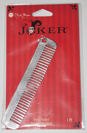 Blue Moon Beads, Joker, Charm Metal Comb, Silver 90mm x 18mm (1)