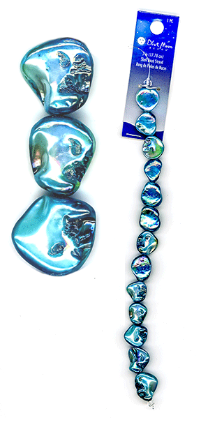 "Blue Moon Beads, Shell, Lt Blue, 7"" (1)"
