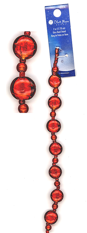 "Blue Moon Beads, Glass, Flat Round, Red, 7"" (1)"