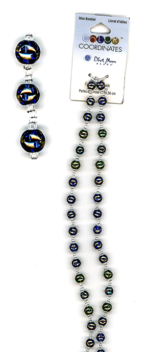 Blue Moon Color Coordinates Glass Beads 14'' Strand, Dot Cobalt