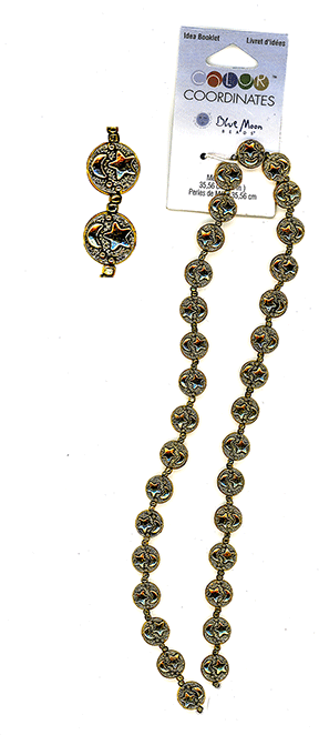 "Blue Moon Beads, Metal,#19 Gold (Star/Moon), 14"" Strand, (8mm)"