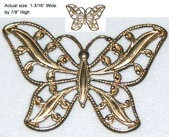 Butterfly Filigree Charm, Gold (12 per package)