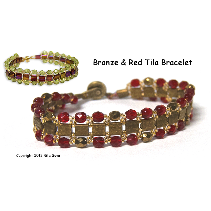 Bronze & Red Tila Bracelet