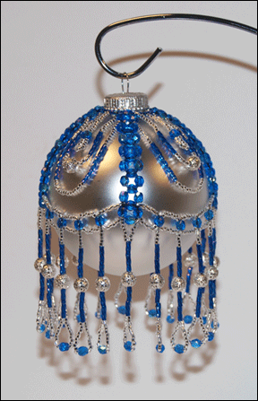 """Alice"" Blue and Silver Beaded Christmas Ornament Cover 2"
