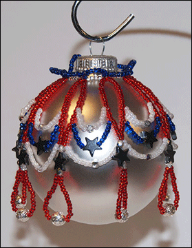 Patriotic Beaded Christmas Ornament Cover