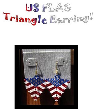 US Flag Triangle Earring Pattern only