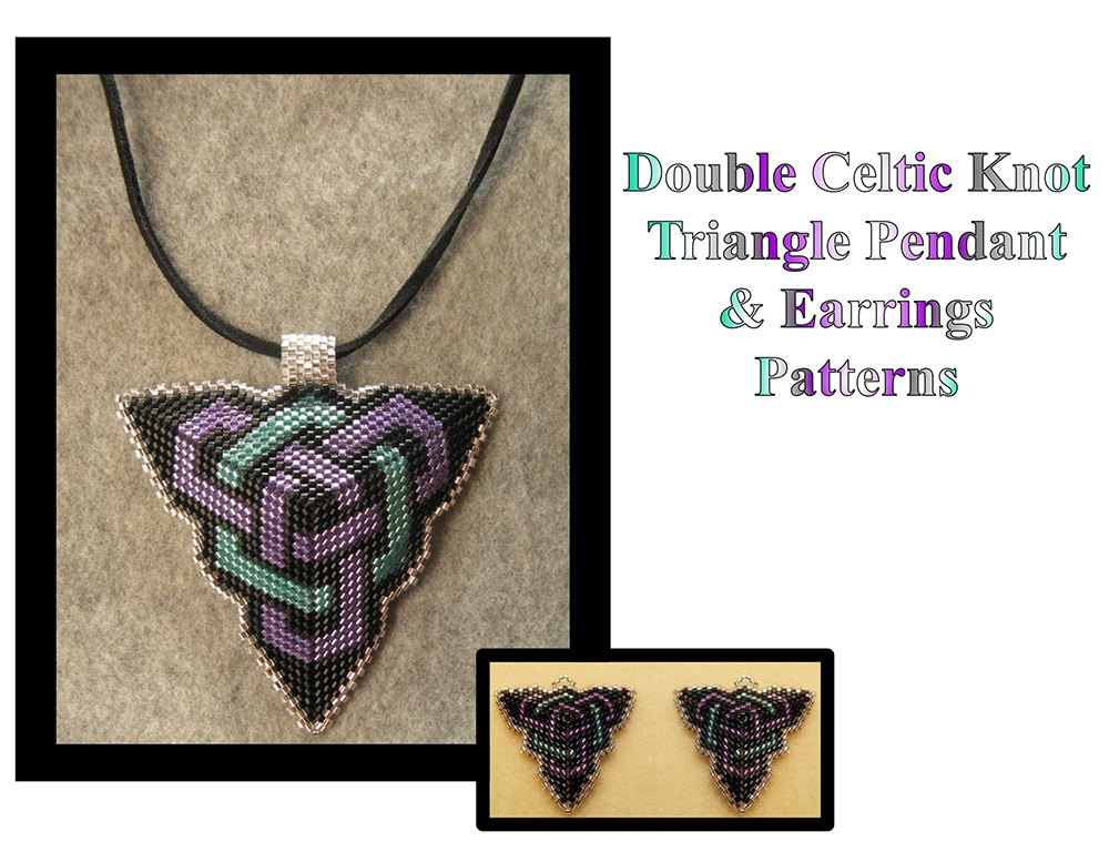 Double Celtic Knot Triangle Pendant & Earrings (Word Chart)