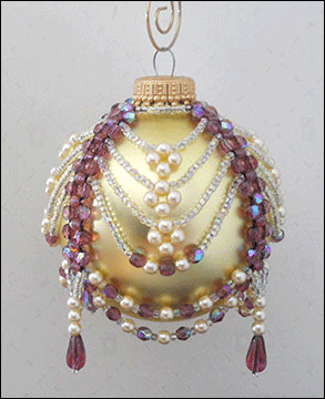 """Alice"" Amethyst & Pearl Beaded Christmas Ornament Cover 3"
