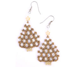 Netted Christmas Tree earrings 2
