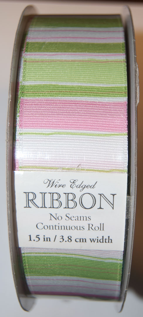 "Kirkland Wire Edged Ribbon 1.5"" W, Pink-Green Stripes Grosgrain"