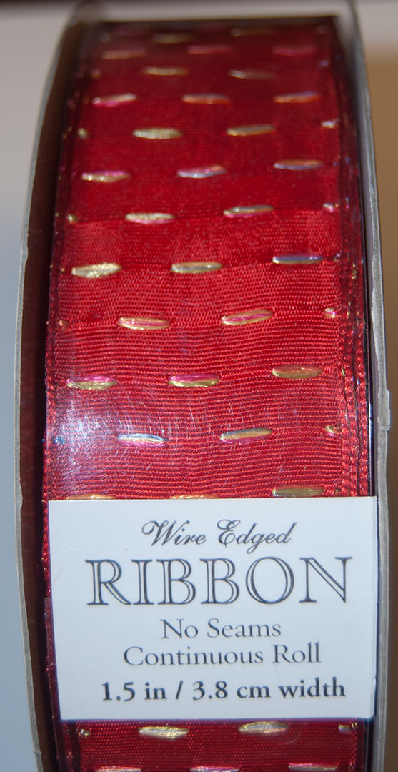 "Kirkland Wire Edged Ribbon 1.5"" Wide, Red with Flecks"