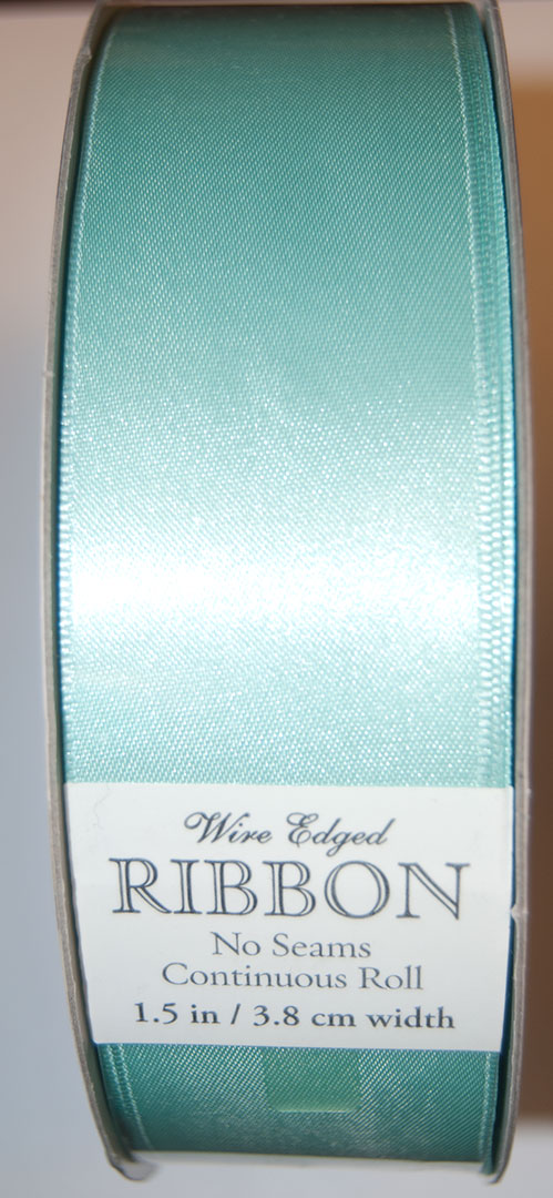 "Kirkland Wire Edged Ribbon 1.5"" W, Turquoise Satin"