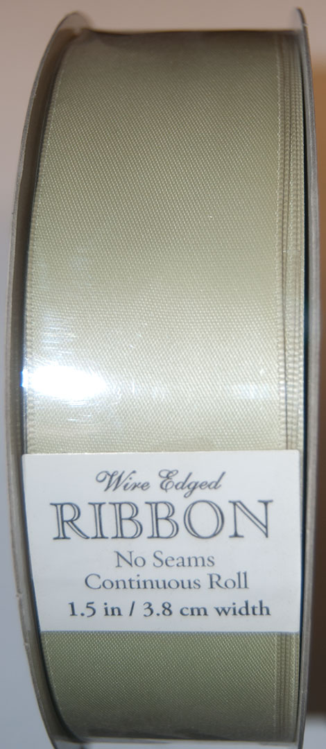 "Kirkland Wire Edged Ribbon 1.5"" W, Celery Satin"