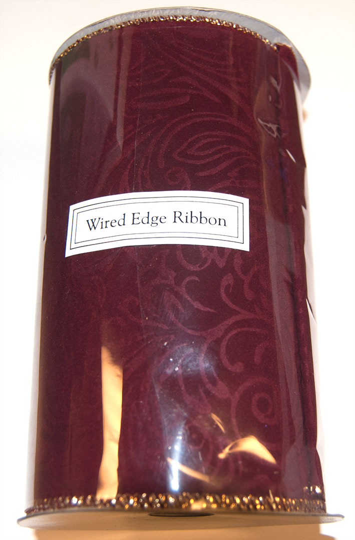 Wire Edged Ribbon 6 in W (10 Yards), Red Velvet