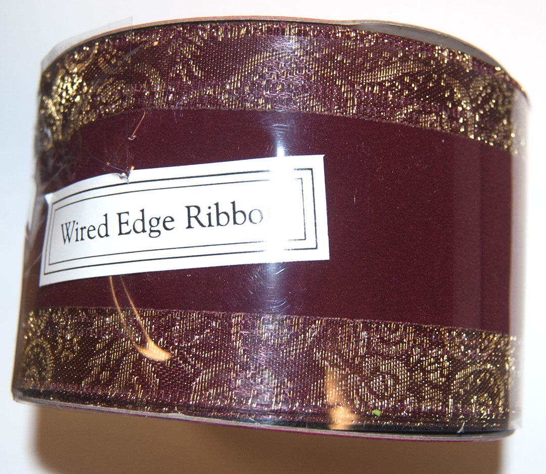 Wire Edged Ribbon 2.5 in W (10 Yards), Red Velvet w/gold edges
