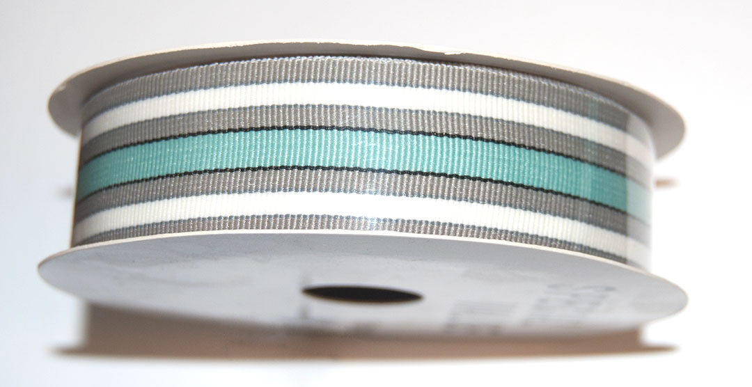 Ribbon 1 in W (3 Yards), Striped (Beige Green Turquoise) Grosgra