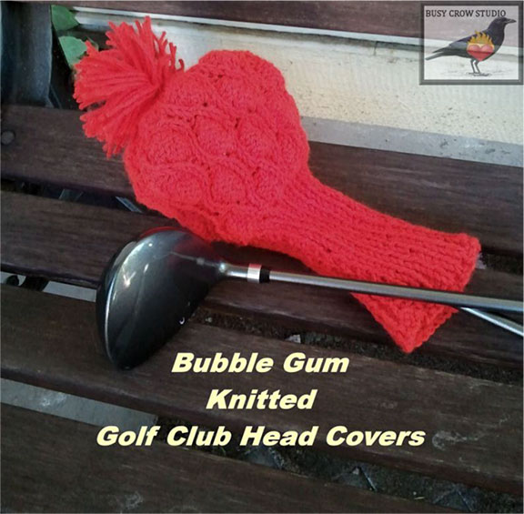 Bubble Gum Knitted Golf Club Covers