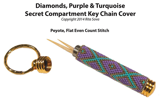 Diamonds, Purple & Turquoise, Secret Compartment Key Chain Cover