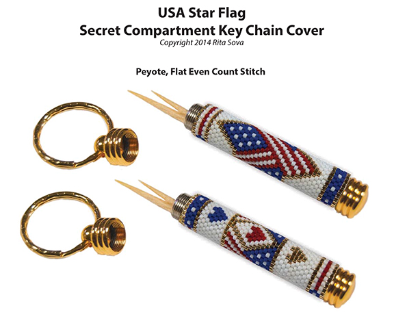 USA Star Flag, Secret Compartment Key Chain Cover