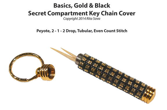 Basics, Gold & Black, Secret Compartment Key Chain Cover