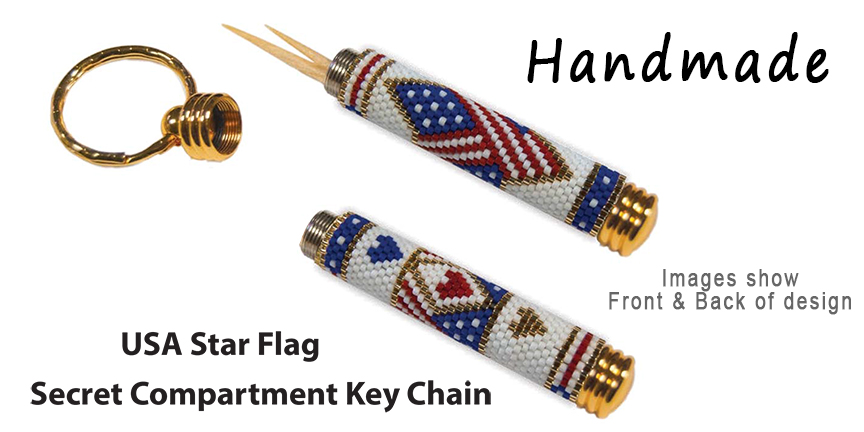 USA Star Flag, Secret Compartment Key Chain