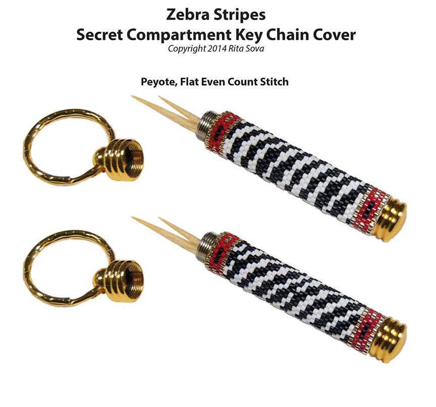Zebra Stripes, Secret Compartment Key Chain Cover