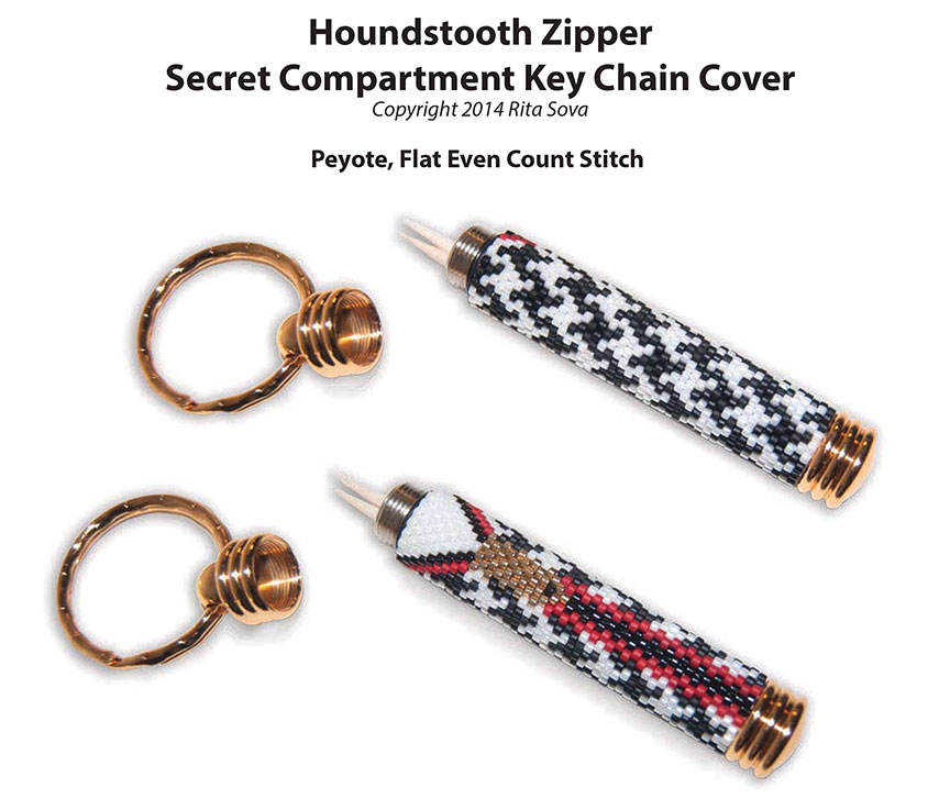 Houndstooth Zipper, Secret Compartment Key Chain Cover