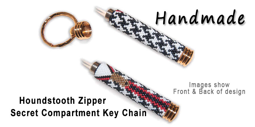 Houndstooth Zipper, Secret Compartment Key Chain