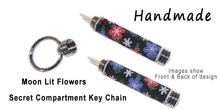 Moon Lit Flowers, Secret Compartment Key Chain