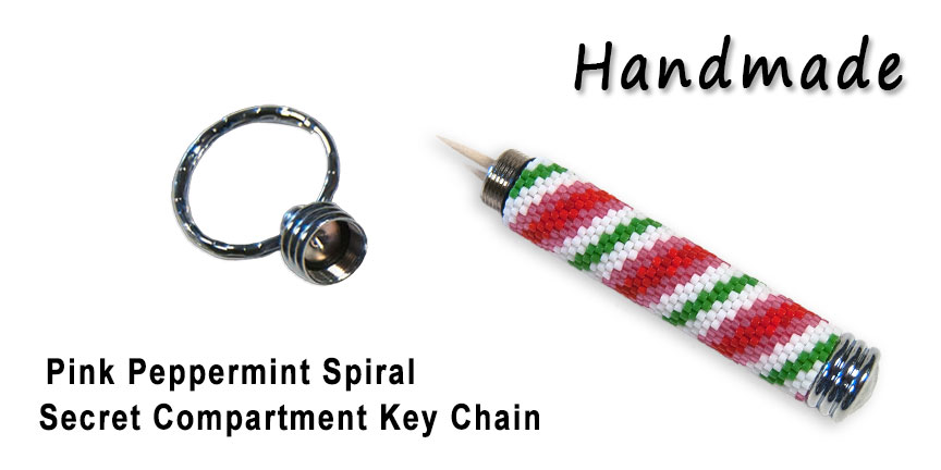 Spiraling Rainbow, Secret Compartment Key ChainPink Peppermint S