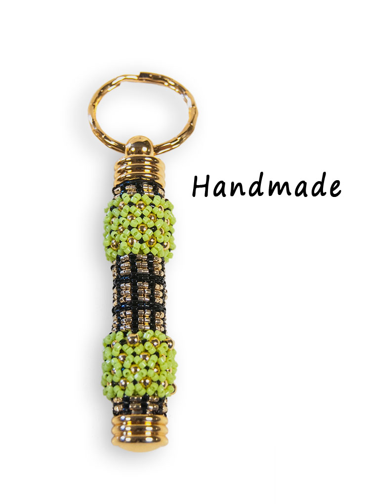 Barbell (Black, Gold & Green), Secret Compartment Key Chain