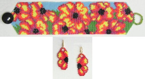Flaming Flowers Bracelet & Earrings