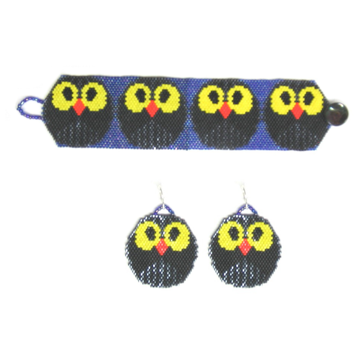 Halloween Owls Bracelet & Earrings