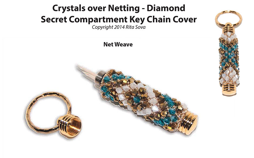 Crystals over Netting - Diamond, Secret Compartment Key Chain Co