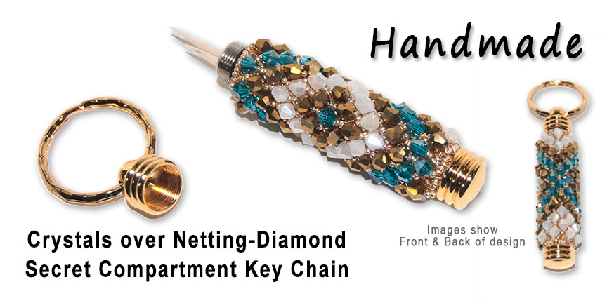 Crystals over Netting - Diamond, Secret Compartment Key Chain