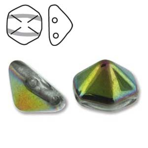 Pyramid Hex 2 Hole 12mm,  Crystal Vitrail, 12 each