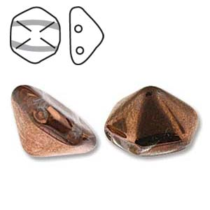 Pyramid Hex 2 Hole 12mm,  Crystal Gold Capri, 12 each