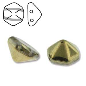 Pyramid Hex 2 Hole 12mm,  Crystal Amber, 12 each