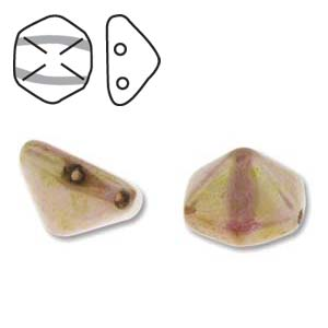 Pyramid Hex 2 Hole 12mm,  White Travertine Red, 12 each