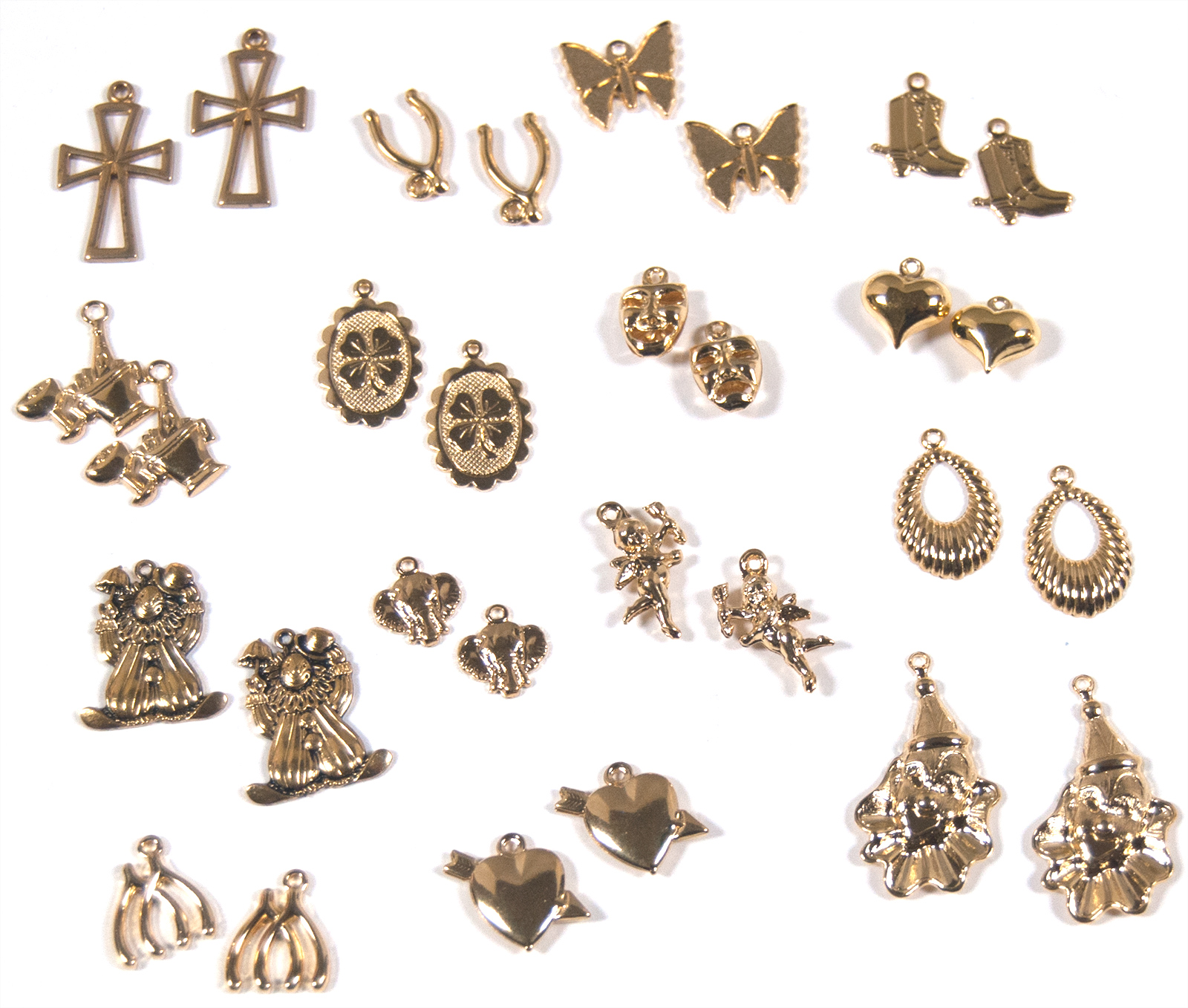 30 Piece Charm Set, Gold (15 pair)