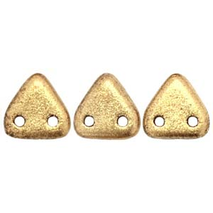 CzechGlass 2 Hole Triangle 6MM, Matte Metallic Flax
