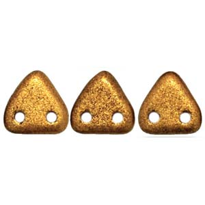 CzechGlass 2 Hole Triangle 6MM, Matte Metallic Goldenrod