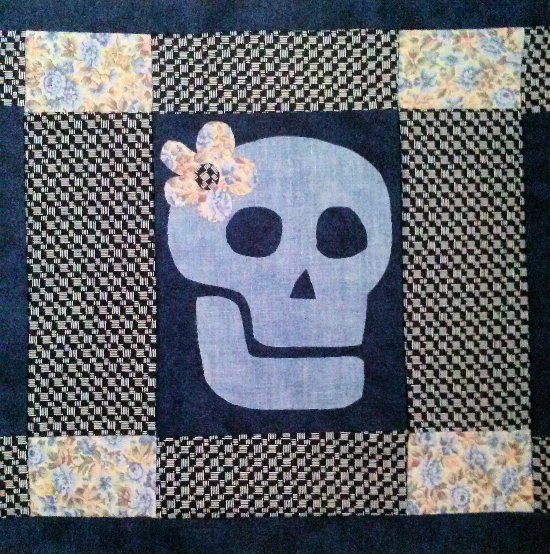 Skull & Flower Applique Quilt Block