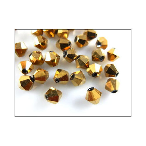 Crystal Bicone, 4mm  Antique Gold (100)