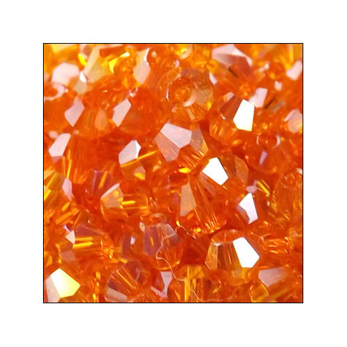 Crystal Bicone, 4mm Orange AB (100)