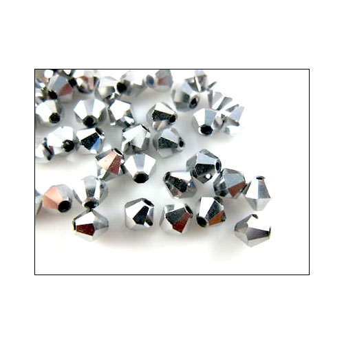 Crystal Bicone, 4mm  Antique Silver (100)